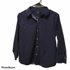 Ralph Lauren Button Down Top Navy and White Size L